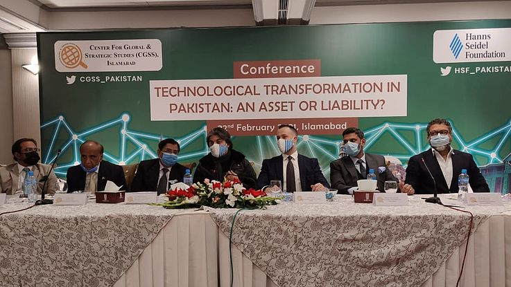 """Panelists at the conference on """"Technological Transformation in Pakistan: An Asset or Liability? jointly organized by CGSS and HSF"""