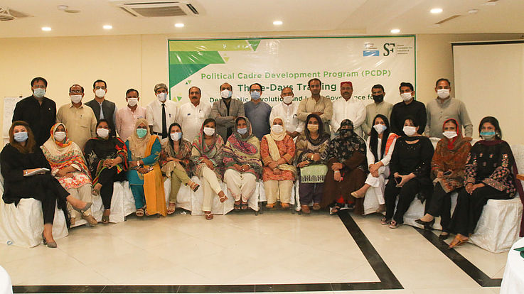 Participants at the Multan Divisional training of the Political Cadre Development Program in August 2021